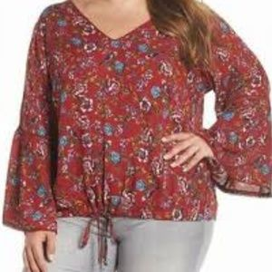 Angie Red Floral Long Sleeve Top